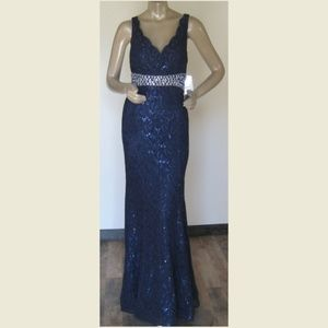 NWT My Michelle Gowns Womens Long Navy Beaded Prom